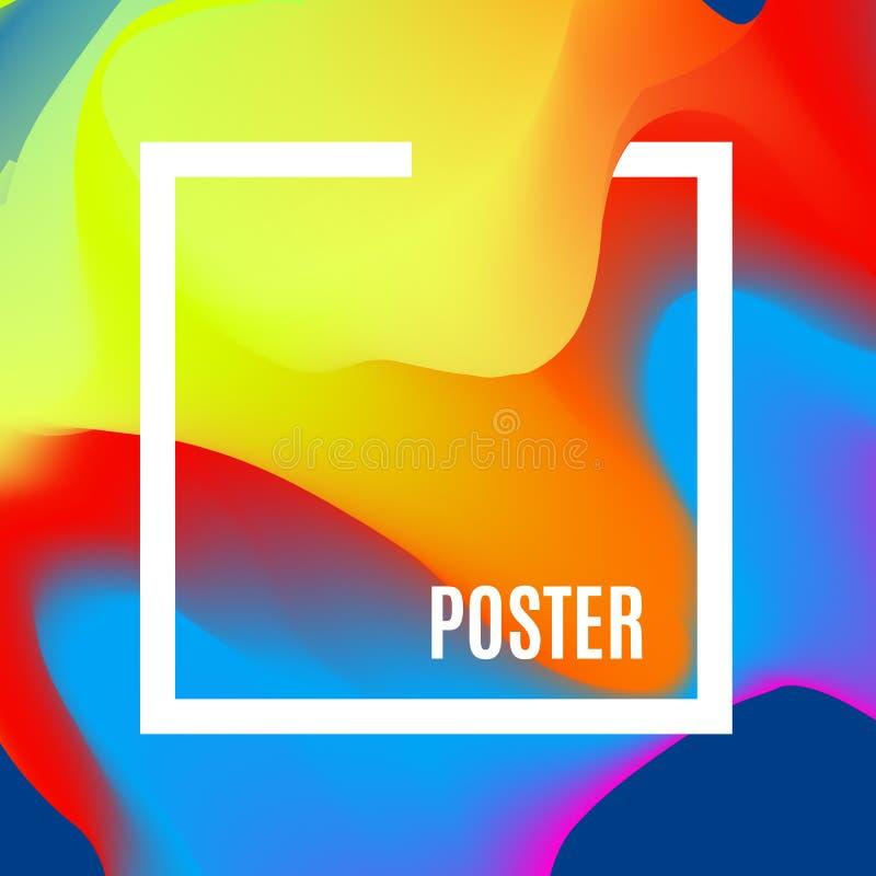 Ondas de la pendiente La plantilla del diseño con morden colores brillantes de la pendiente Cartel con formas flúidas abstractas  ilustración del vector