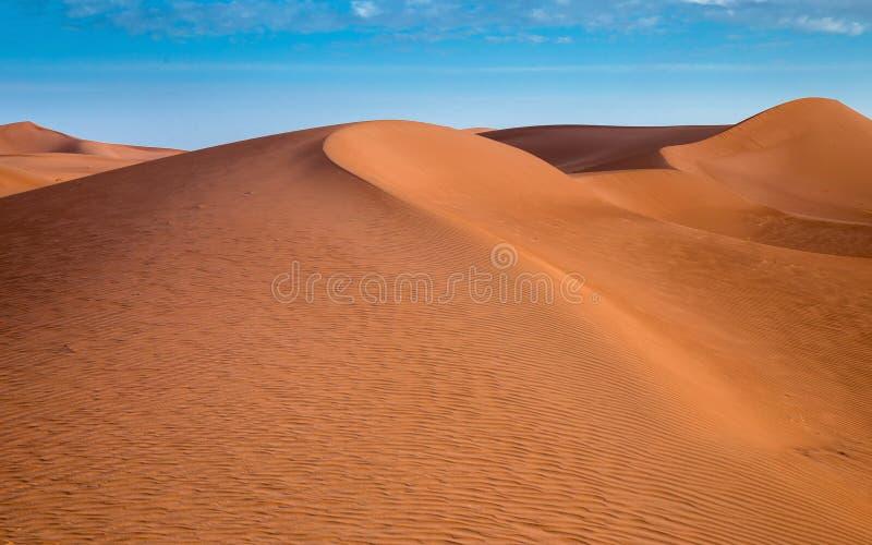 Ondas de las dunas de arena en el desierto del Sáhara en la salida del sol imagenes de archivo