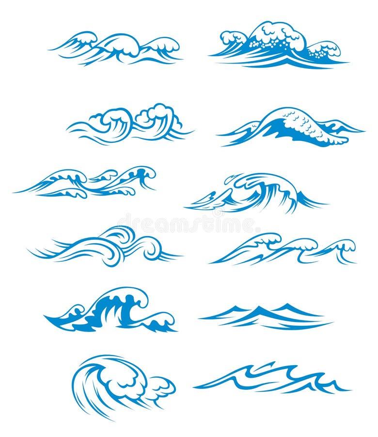 Ondas de oceano ajustadas ilustração stock
