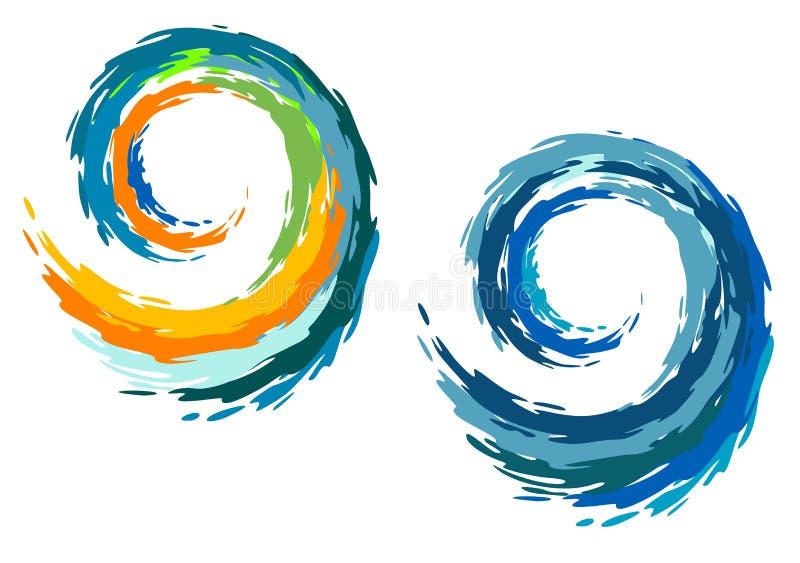 Ondas de oceano coloridas ilustração stock