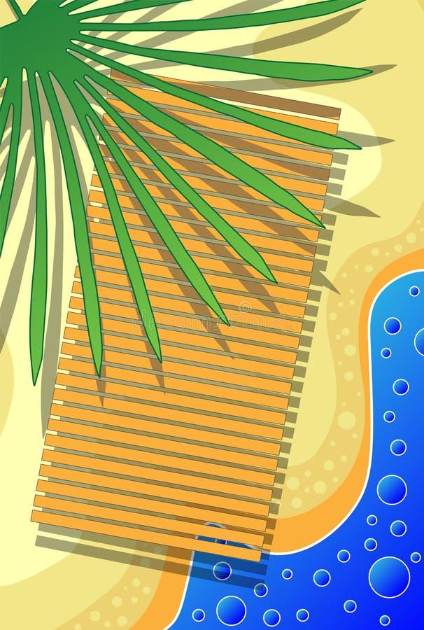 Ondas de oceano da ilustração do cartão da praia da areia, água clara, tempo ensolarado do verão ilustração stock