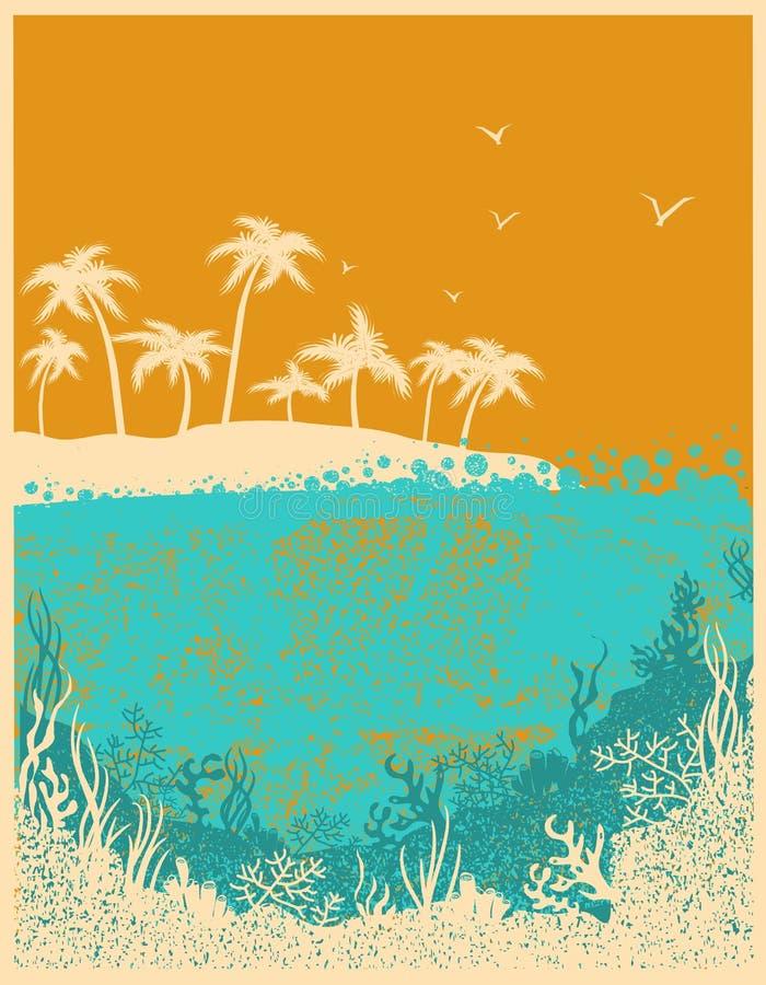 Ondas de oceano e ilha tropical no dia quente do verão ilustração stock