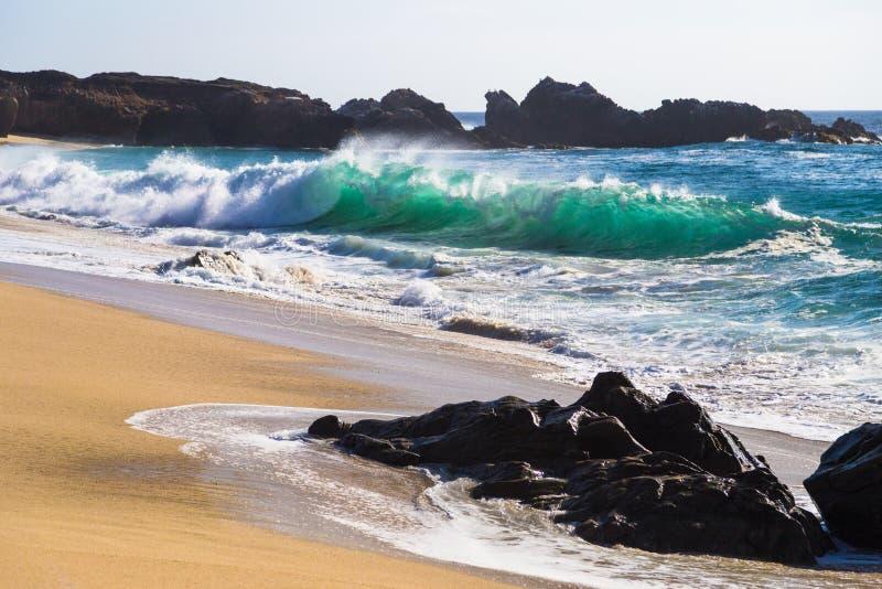Ondas de oceano enormes na praia de estado de Garrapata em Califórnia fotografia de stock