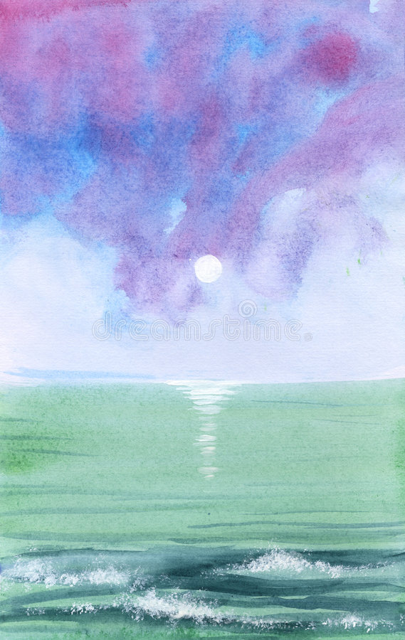 Ondas de oceano - watercolour ilustração stock
