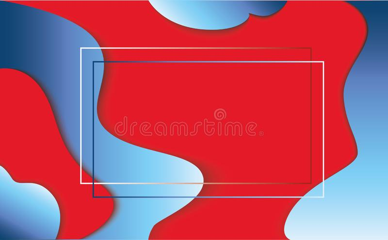 Ondas de papel azules rojas del extracto de la historieta del arte ilustración del vector