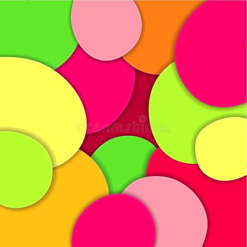 Ondas de papel coloreadas, 3D extracto, capas geométricas de la textura del fondo de profundidad en sombras de verde, amarillo, r stock de ilustración