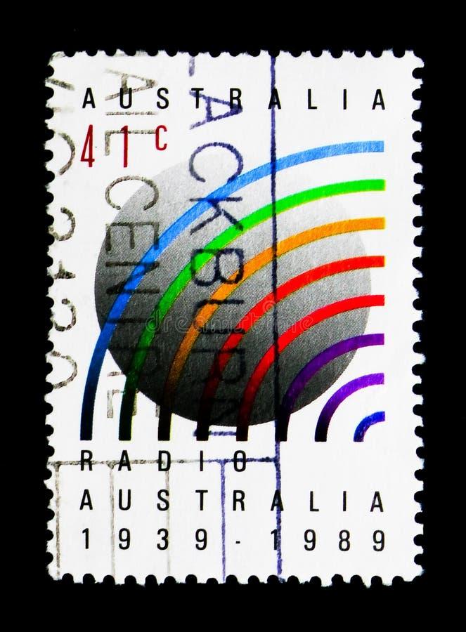 Ondas de radio y globo, serie de la expo de los sellos del mundo, circa 1989 imágenes de archivo libres de regalías