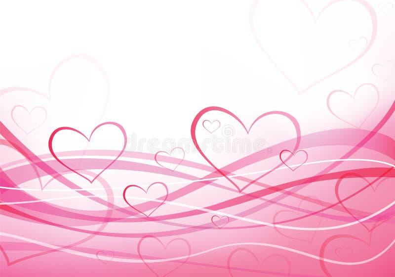 Ondas del color de rosa del amor. Corazones de la tarjeta del día de San Valentín stock de ilustración