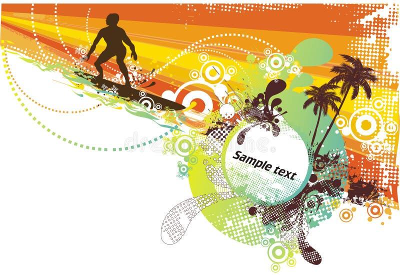 Ondas del extracto del surfing& del verano stock de ilustración