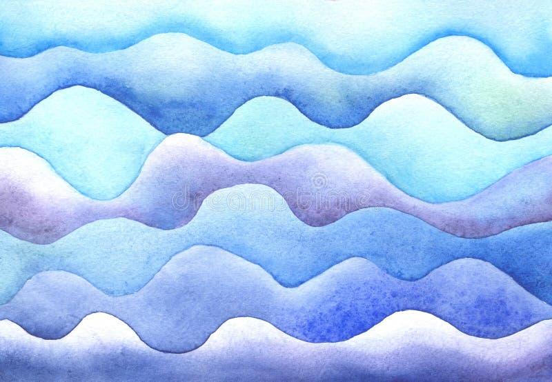 Ondas del mar de la acuarela stock de ilustración