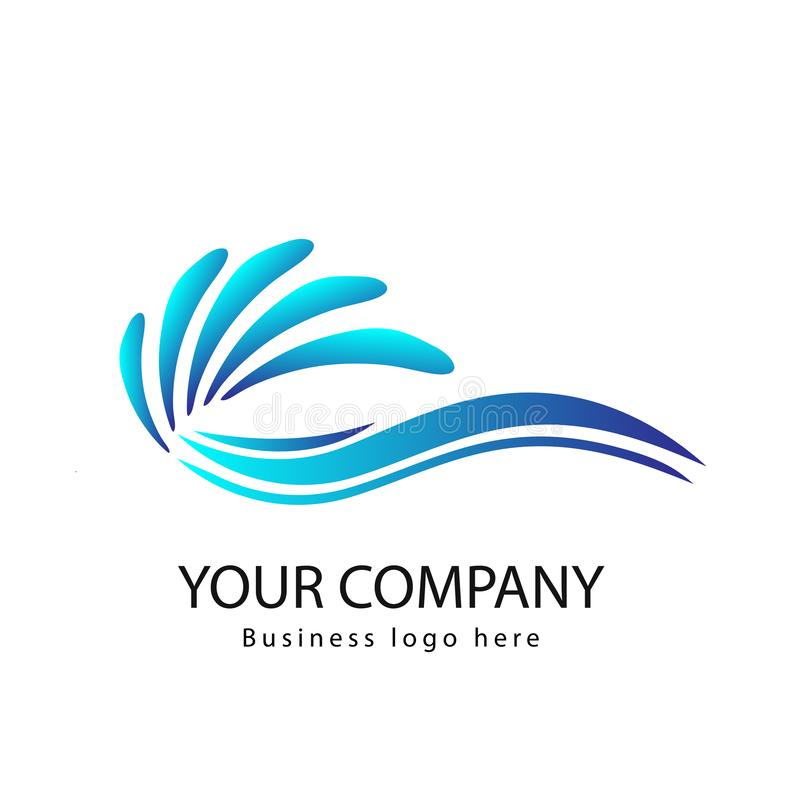 Ondas del mar o olas oceánicas, agua azul, chapoteo y vendaval, vector Curva, logotipo libre illustration