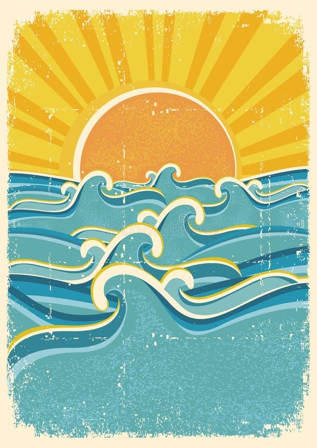 Ondas del mar y sol amarillo stock de ilustración