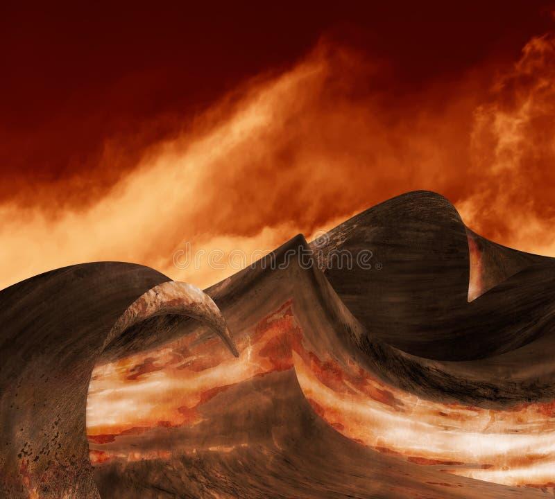 Ondas del metal del infierno stock de ilustración