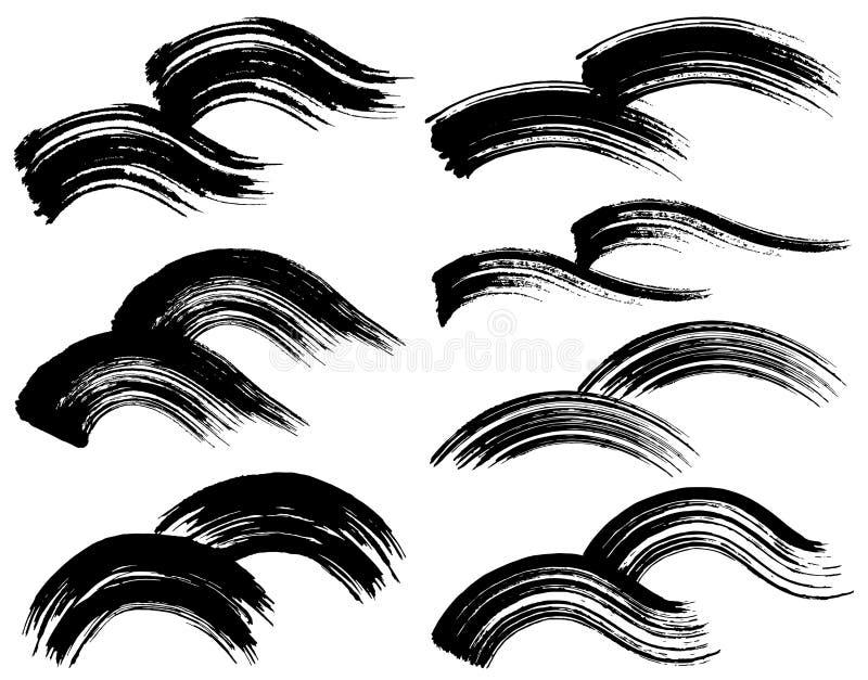 Ondas del movimiento del cepillo stock de ilustración