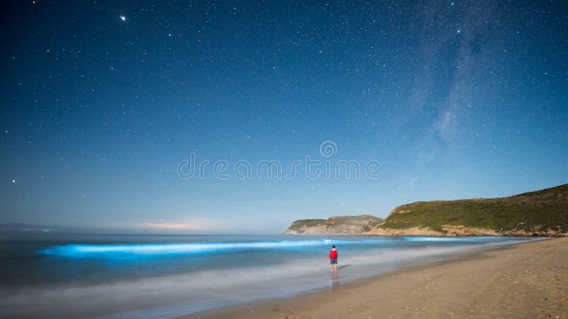 Ondas do azul & a Via Látea fotografia de stock