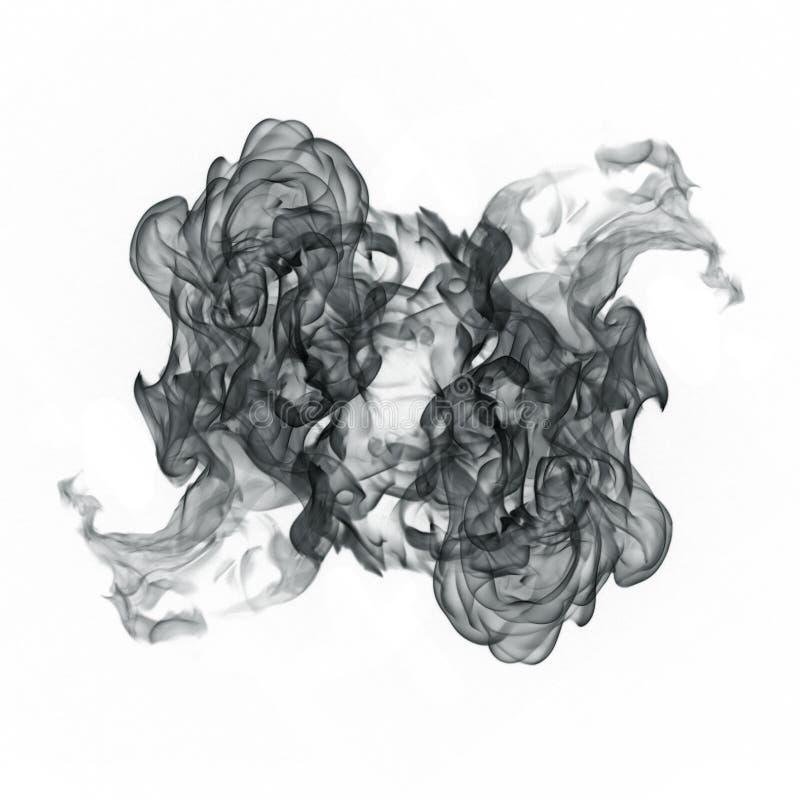 Ondas do fumo preto em um fundo branco ilustração do vetor