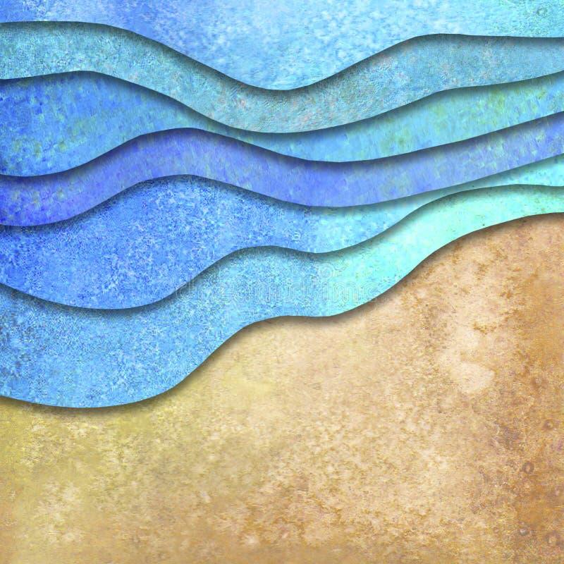 Ondas do mar da aquarela do ver?o e fundo geom?tricos abstratos da praia da areia ilustração royalty free