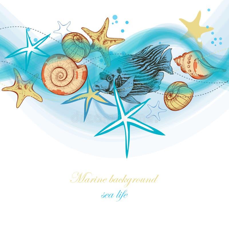 Ondas do mar do verão e vida marinha ilustração royalty free