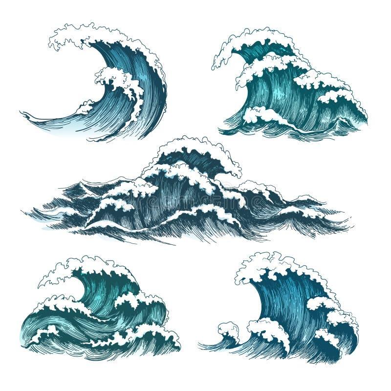 Ondas do mar dos desenhos animados do vintage ilustração royalty free