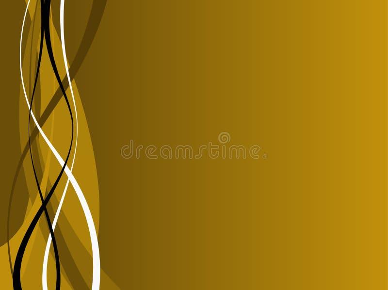 Ondas do ouro e do preto ilustração do vetor