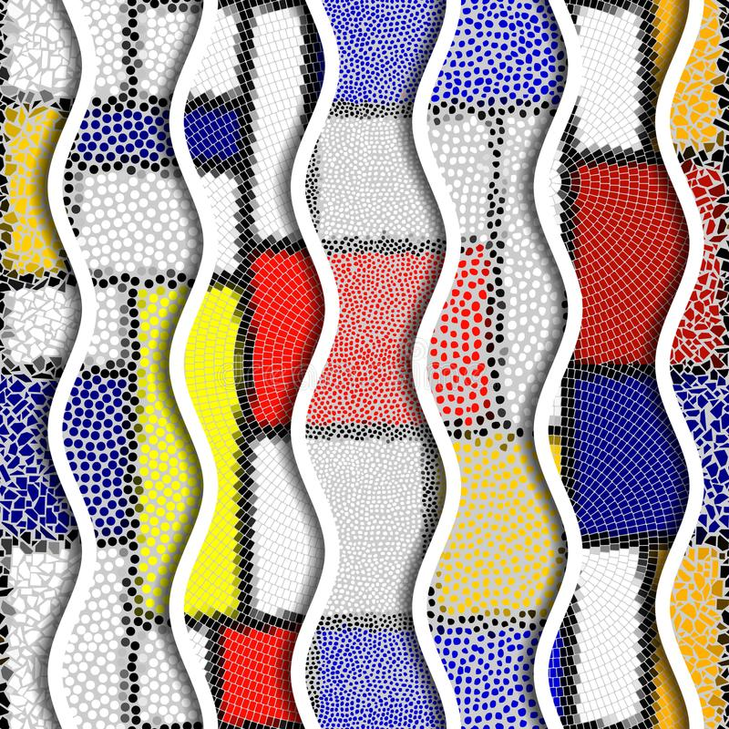 Ondas do relevo de testes padrões decorativos da telha de mosaico ilustração stock