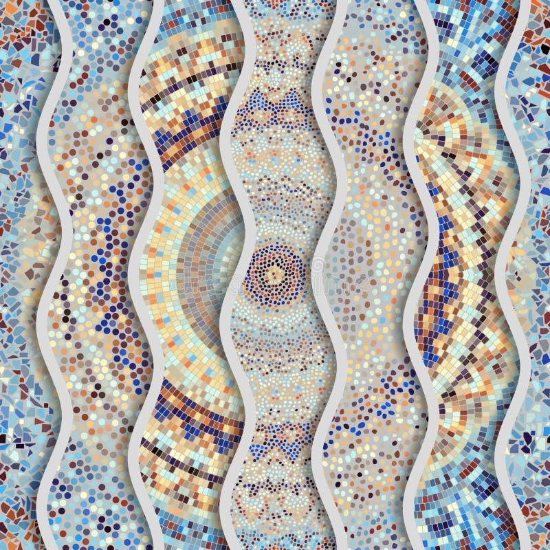 Ondas do relevo de testes padrões decorativos da telha de mosaico ilustração royalty free