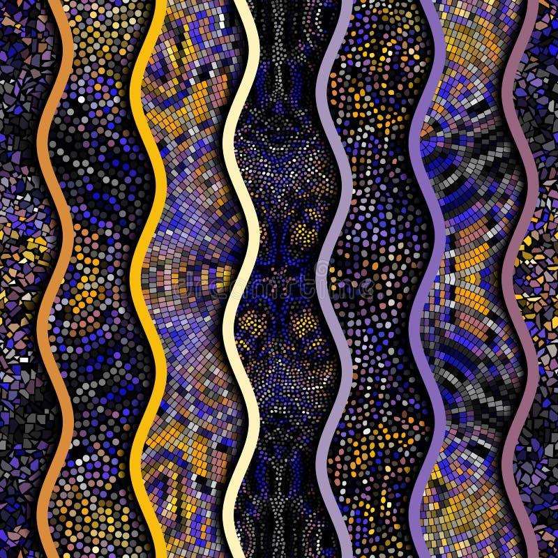 Ondas do relevo de testes padrões decorativos da telha de mosaico ilustração do vetor