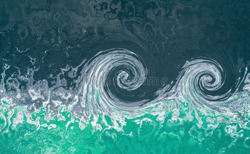 Ondas do tsunami Fundo do sumário da maré da água O fundo da água azul com espirra das ondas foto de stock royalty free