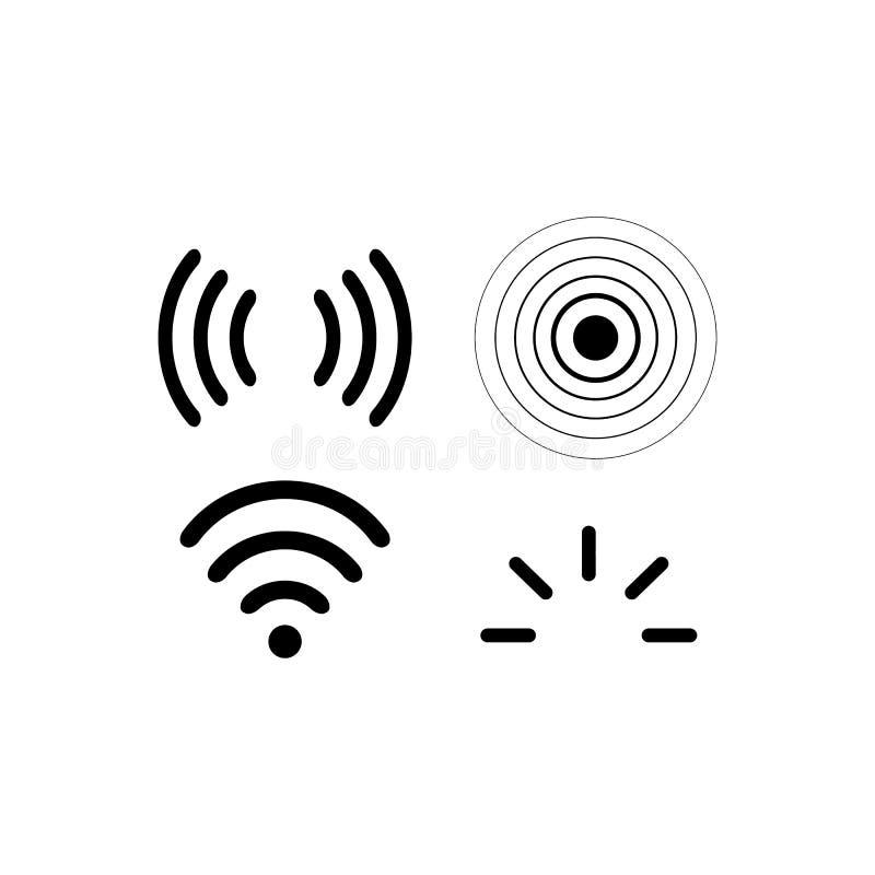 Ondas dos sinais do iradio do grupo do vetor dos ícones do sinal Radar, wifi ilustração do vetor
