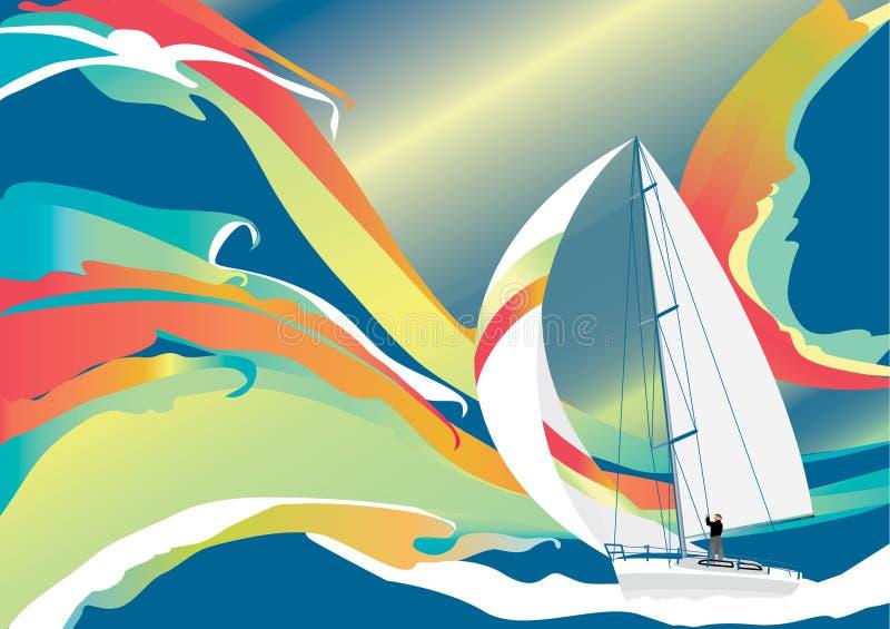Ondas e barco - vetor ilustração do vetor