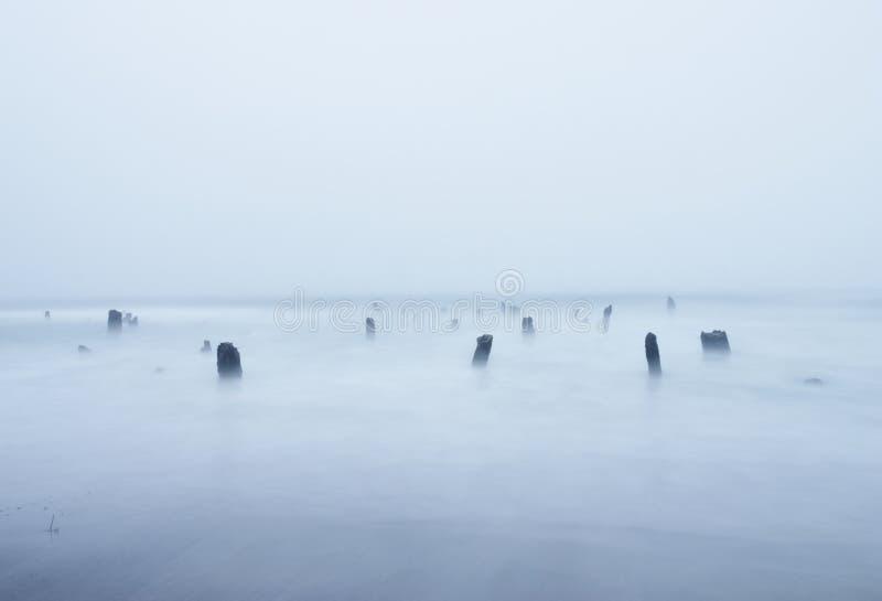 Ondas e cotoes da praia da costa foto de stock