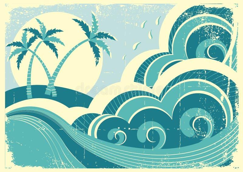 Ondas e isla del mar. stock de ilustración