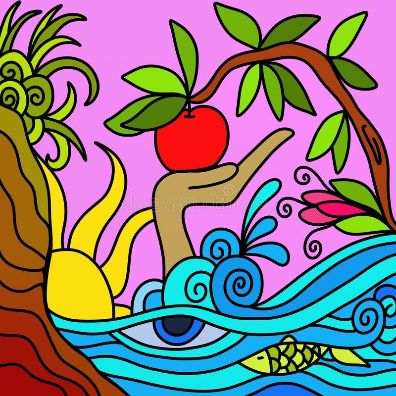 Ondas e maçã do azul ilustração royalty free