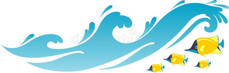 Ondas e peixes do Seawater da praia ilustração royalty free