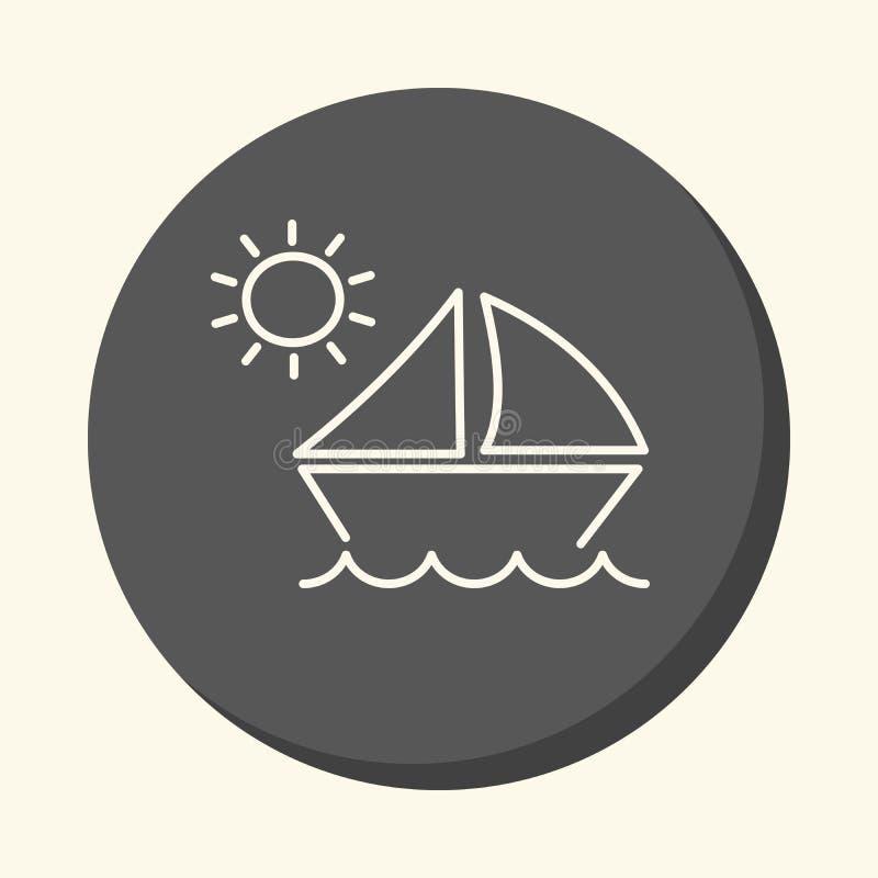 Ondas e um veleiro sob o sol, ícone linear redondo, mudança simples da cor ilustração royalty free