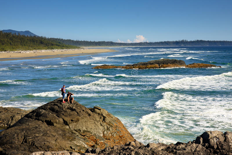 Ondas en el parque nacional de los países de la costa del Pacífico, Tofino, A.C. fotografía de archivo