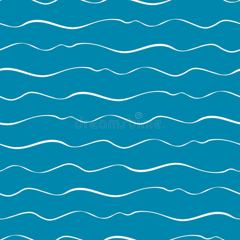 Ondas exhaustas del mar del garabato de la mano abstracta Modelo geométrico inconsútil del vector en fondo del azul de océano Gra libre illustration