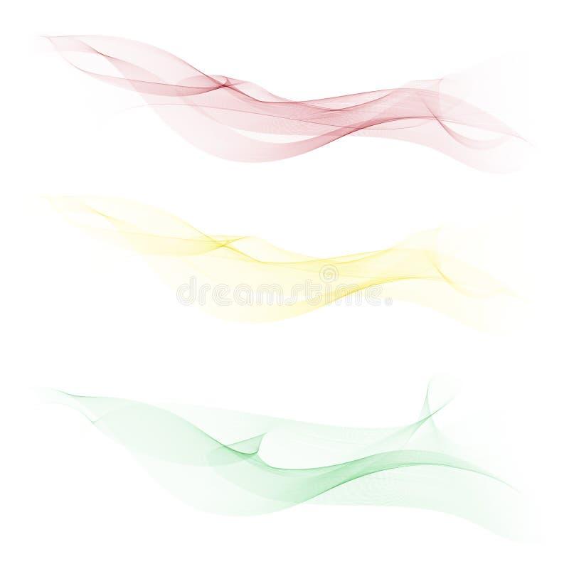 Ondas lisas, claras, hermosas fijadas Fondo abstracto de la onda stock de ilustración