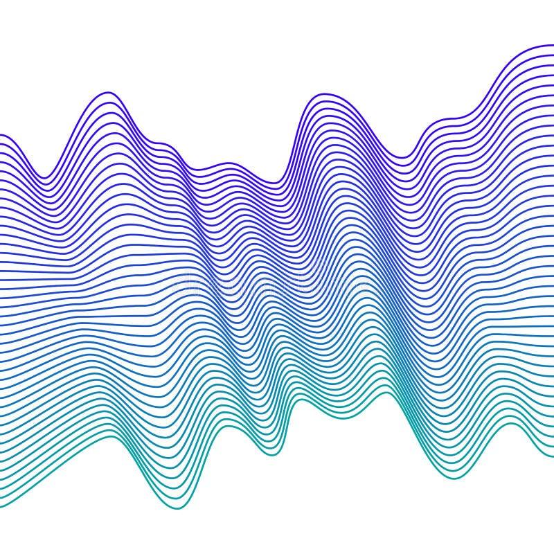 Ondas lisas del azul Líneas abstractas del vector Efecto de la mezcla ilustración del vector