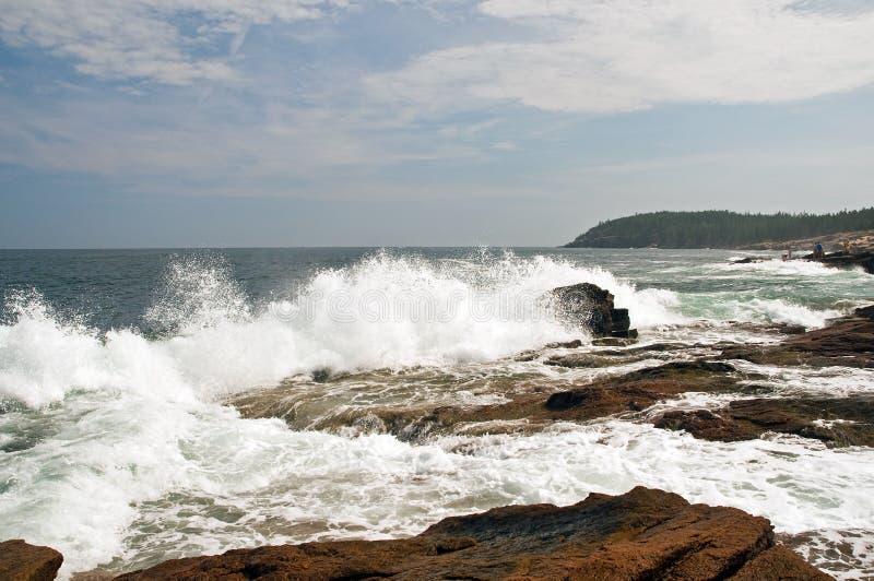 Ondas na costa de Maine imagem de stock