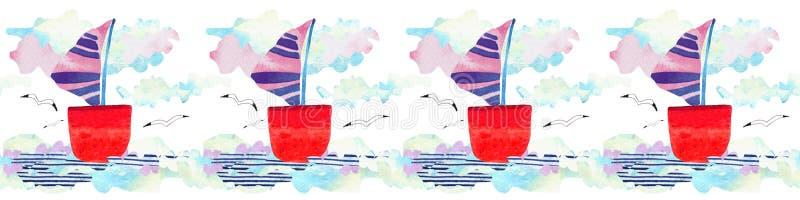 Ondas, nave y gaviota del mar de la acuarela en estilo del arte del papel Ejemplo del concepto del viaje imagenes de archivo