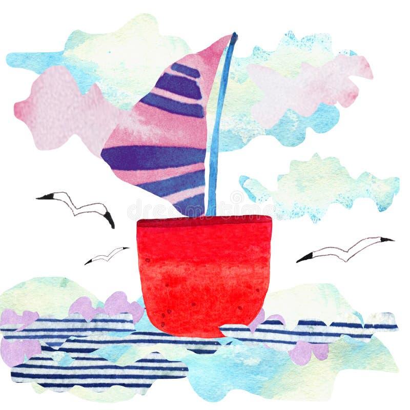 Ondas, nave y gaviota del mar de la acuarela en estilo del arte del papel Ejemplo del concepto del viaje imagen de archivo libre de regalías