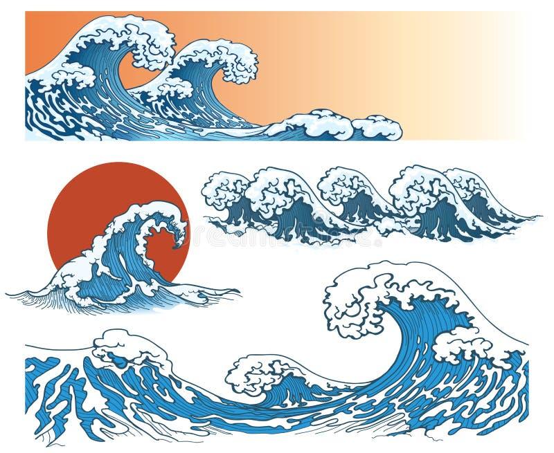 Ondas no estilo japonês ilustração royalty free