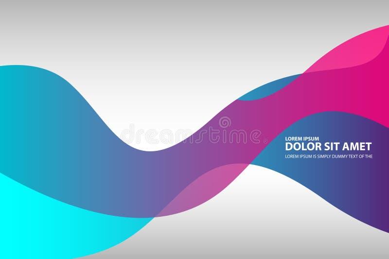 Ondas onduladas púrpuras azules fondo, papel pintado del rosa del extracto del vector Folleto, diseño En el fondo blanco ilustración del vector