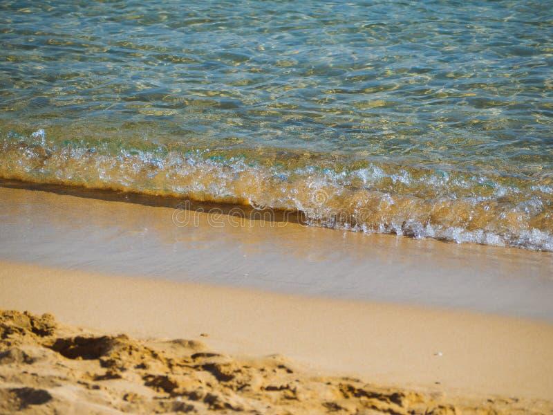 Ondas pequenas em um Sandy Beach vazio agradável - água claro foto de stock