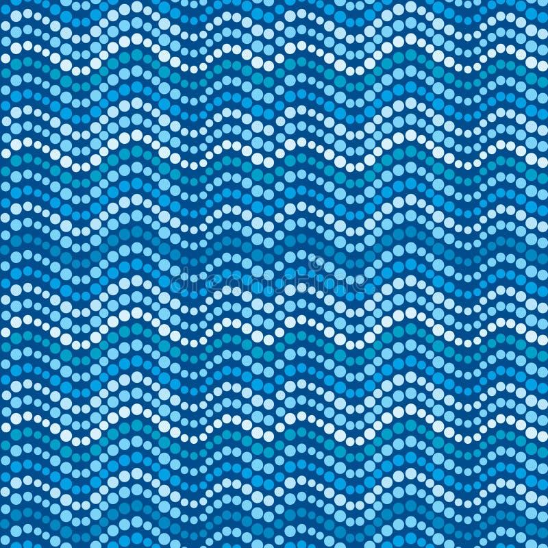 Ondas pontilhadas, teste padrão pontilhado azul abstrato ilustração royalty free