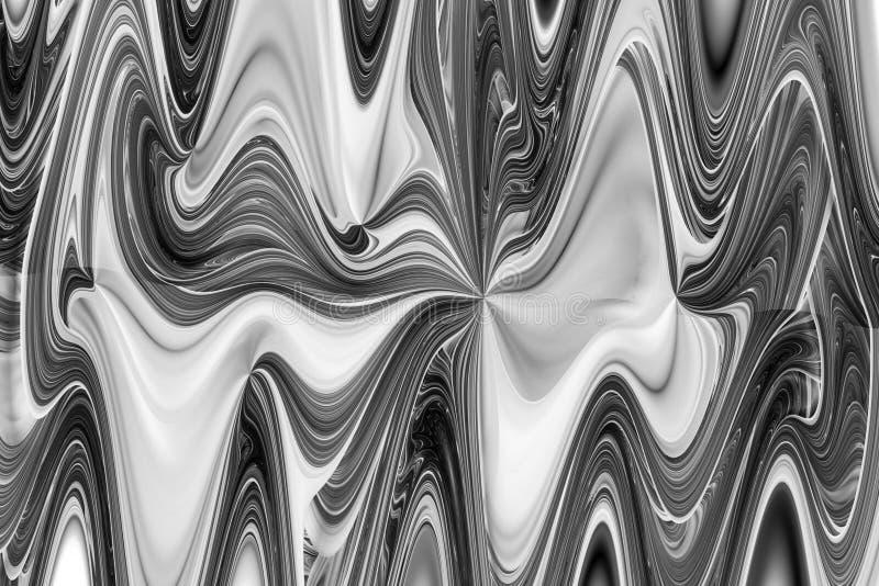 Ondas preto e branco abstratas Textura monocromática intrincada do fractal fotografia de stock