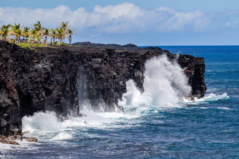 Ondas que se estrellan contra el acantilado alto en la isla grande de Hawaii, espray en el aire Palmeras en el top Océano Pacífic imagen de archivo
