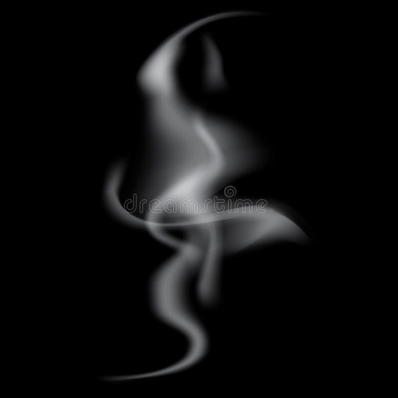 Ondas realistas blancas delicadas del humo del cigarrillo ilustración del vector