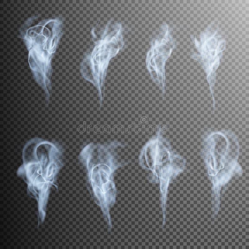ondas realistas del humo del cigarrillo EPS 10 ilustración del vector